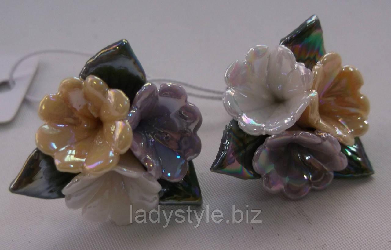 Серьги-гвоздики из полимерной глины № 2 с эмалью от Студии  www.LadyStyle.Biz