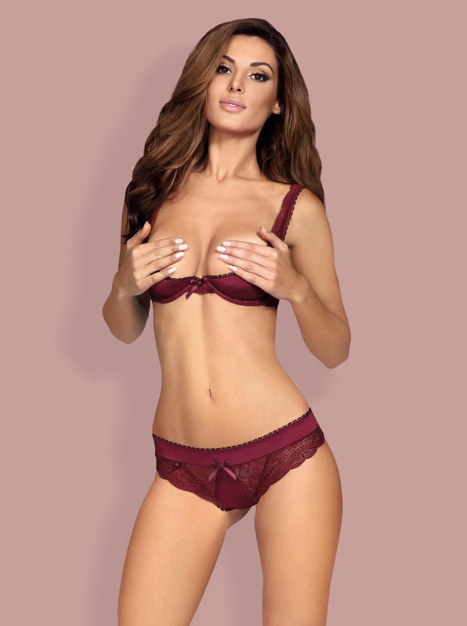 Бордовый секси комплект с открытой грудью Miamor
