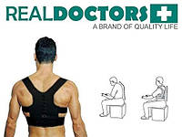 Качественный корректор осанки для спины. Бандаж. Реклинатор. Черный корсет для осанки. Real Doctors. Размер L