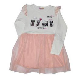 Детское трикотажное платье , 3-9 лет (4 ед в уп) персиковый