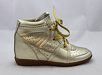 Кеды женские на танкетке Isabel Marant Bobby Sneakers на шнурках золотые кожаные 38 (24.8см)