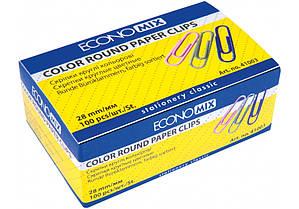 Скрепки круглые цветные 28 мм Economix 100 штук E41003