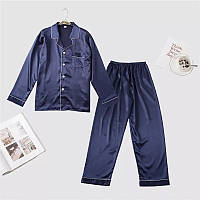 Синяя атласная пижама, реплика Виктория Сикрет, атласный пижамный костюм, шелковая пижама