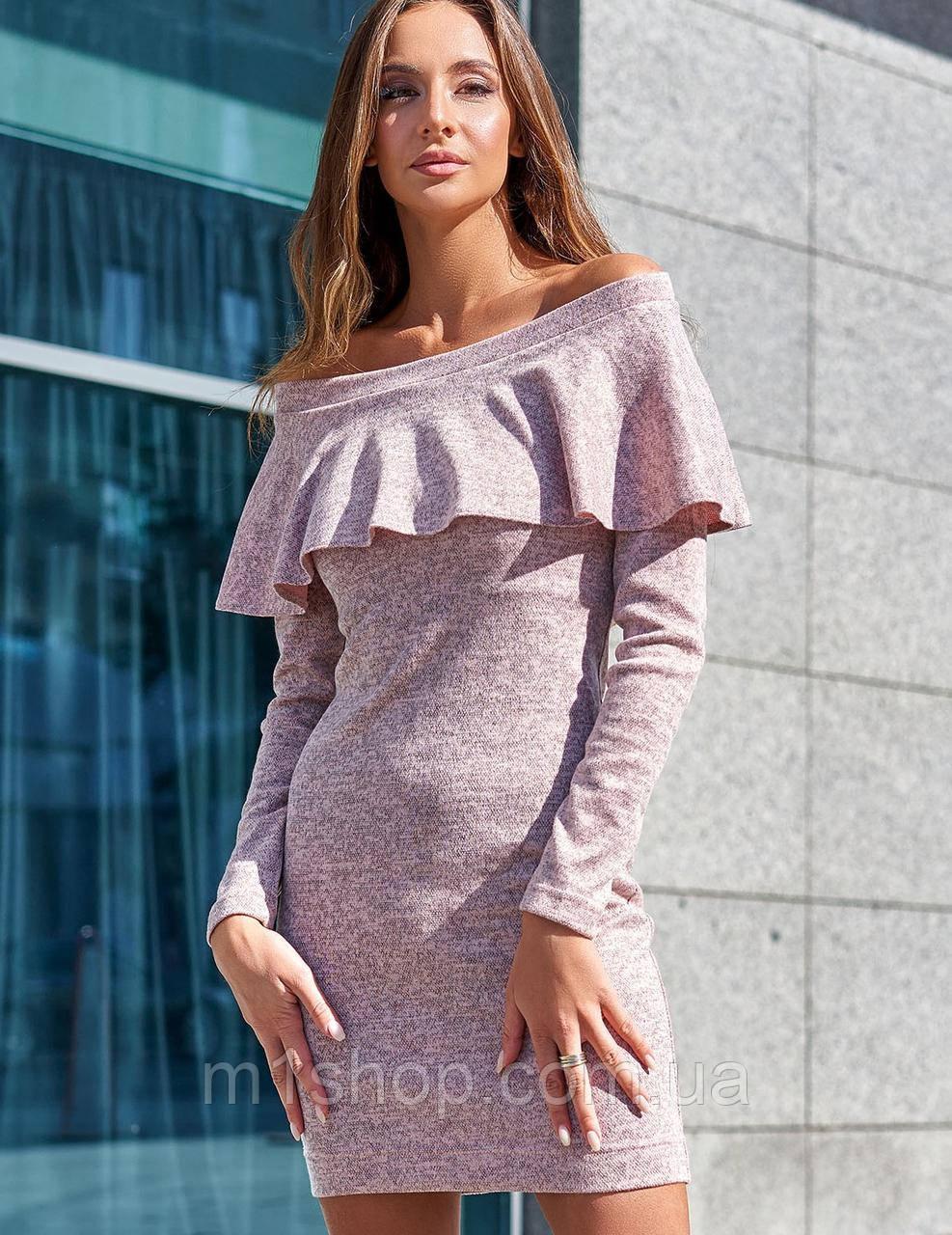 Женское ангоровое платье-футляр с воланом (Микаjd)