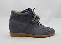 Сникеры женские Isabel Marant Bobby Sneakers на шнурках серые замшевые 40 (25см)