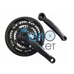Система шатунов МТБ 48/38/28 (черная) для горных велосипедов