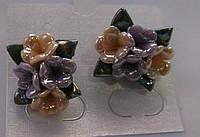 Серьги-гвоздики из полимерной глины № 7 с эмалью от Студии  www.LadyStyle.Biz