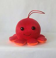 Мягкая игрушка Осьминог, 9х13 см, красный