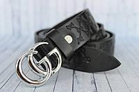 """Женский ремень Gucci кожаный черный 3 см Silver """"New Collection"""""""