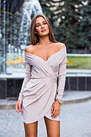 Короткое вечернее платье из люрекса с рукавами и открытыми плечами 42