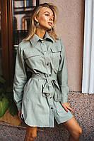 Модное платье-рубашка из стрейчевого джинса