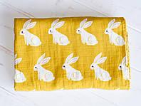 Пеленка муслиновая KiddieWiddie Зайчики 120x120 см