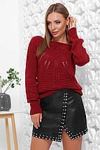 Женский вязаный однотонный свитер лодочкой (21 mrs), фото 2