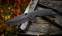 Нож складной, фолдер с универсальным клинком, цельнометаллический, с насечкой для большого пальца, с полосами, фото 1