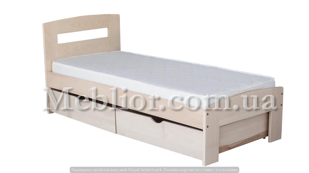 """Односпальне ліжко """"Ірис міні"""" з ящиками (масив бука)"""