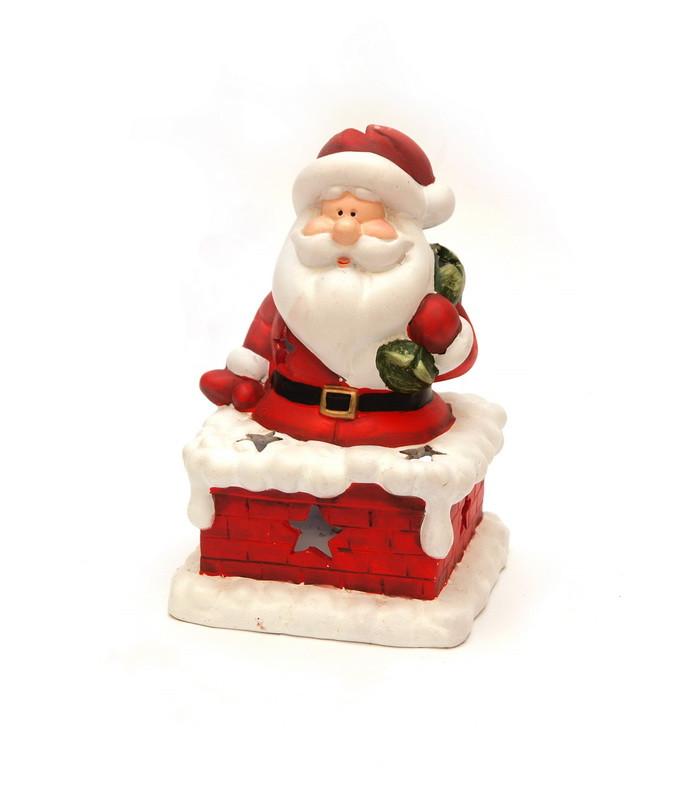 Новогодняя сувенирная фигурка Дед Мороз на трубе с мешком (011728)