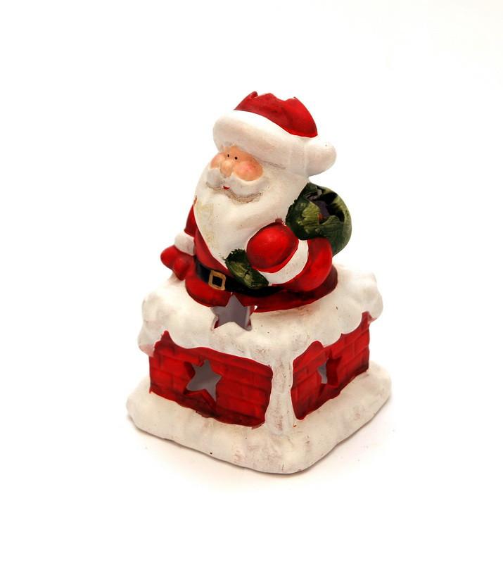 Фигурка сувенирная Дед мороз на трубе с мешком (011742)