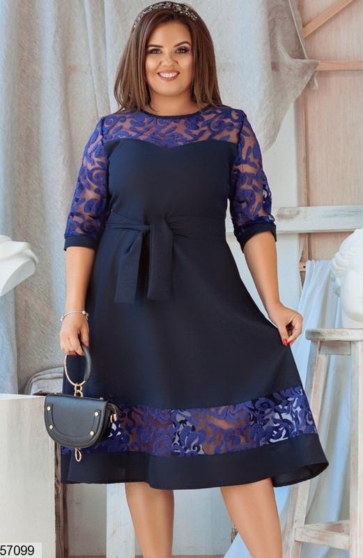 Нарядное платье больших размеров вечернее синее