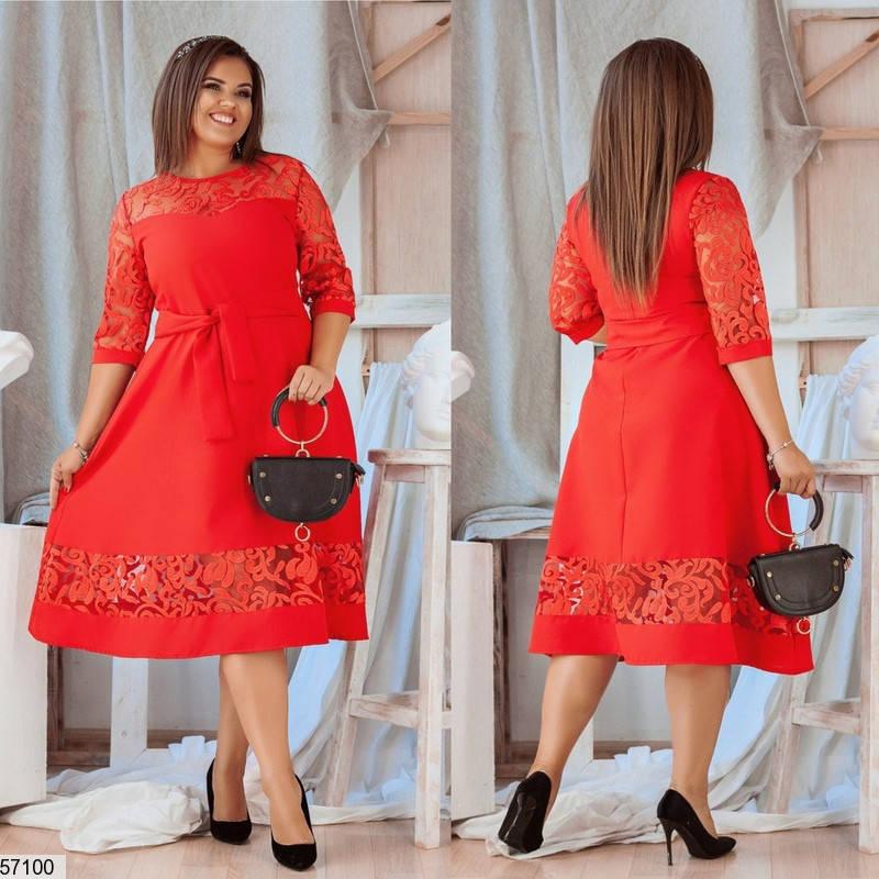 Нарядное красное платье больших размеров вечернее, фото 2
