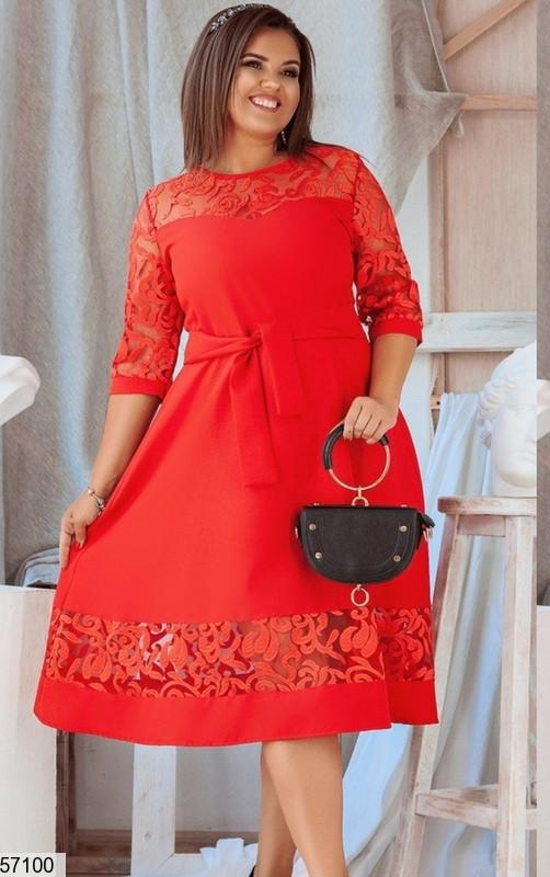 Нарядное красное платье больших размеров вечернее