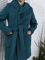 Женское пальто с капюшоном бутылочного цвета размер 48-50, фото 1