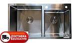 Кухонная мойка из нержавеющей стали Galaţi Arta U-750D 80*45 двойная, фото 4