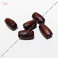 Деревянные бусины 16 мм бочонок для рукоделия цвет коричневый