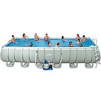 Сборный каркасный бассейн серии Ultra Frame Rectangular Pool Intex 28364 (732 x 366 x 132 см)