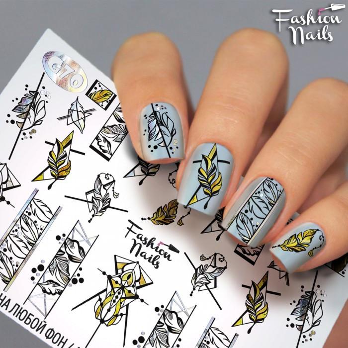Слайдер-дизайн Fashion nails - наклейки на нігті - пір'їнка