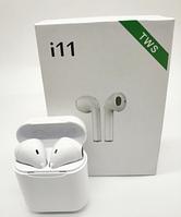 Беспроводные наушники вкладыши с микрофоном в кейсе TWS i11 Bluetooth Белые