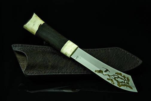 """Нож ручной работы с лазерной гравировкой """"Бонсай"""", 9Х, фото 2"""