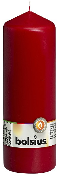 Свеча цилиндр Bolsius бордовая 20 см (70/200-036 BOR 86131)