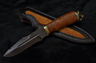 """Нож охотничий ручной работы """"Свирепый лев"""", дамасск, фото 2"""