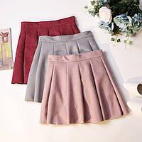 Короткая замшевая юбка, 4 цвета