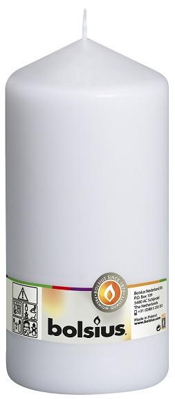 Свеча цилиндр Bolsius белая 20 см (100/200-090Б)