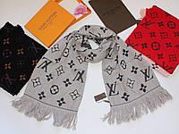 Теплый вязаный шарф Louis Vuitton Monogram Logomania серый