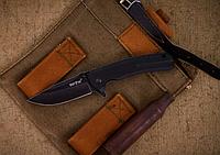 Нож складной, сверху клинка  удобная насечка, рукоять складного ножа снабжена накладками из композита G10