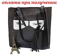 Женская кожаная сумка клатч мини шкіряна вместительная обьемная Eyes, фото 1