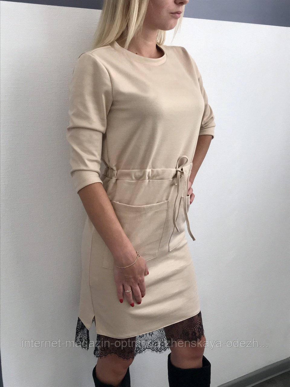 Модное платье из французского трикотажа украшено кружевом, размеры: 42, 44, 46, 48, черный, серый, св.бежевый