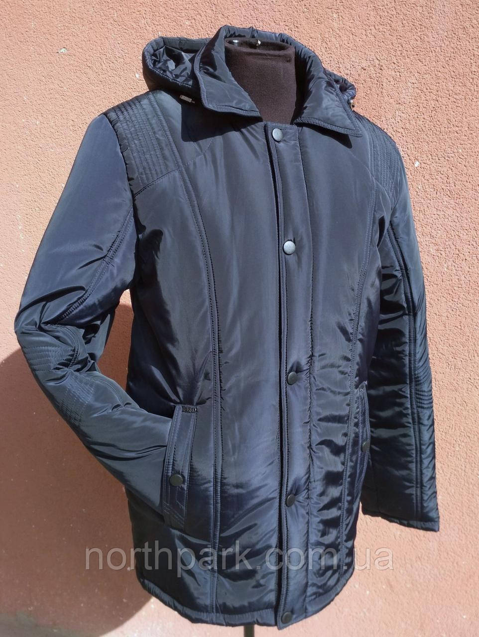 Изысканная мужская зимняя куртка с отложным воротником, темно-синяя