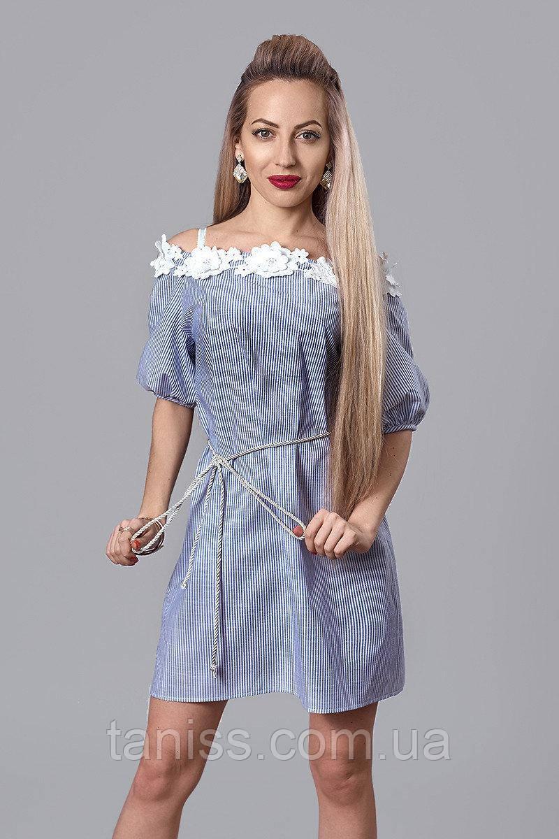 Молодежное летнее легкое льняное платье, отделка 3Д кружево, поясок в комплекте, р.44,46,48 синий (514)