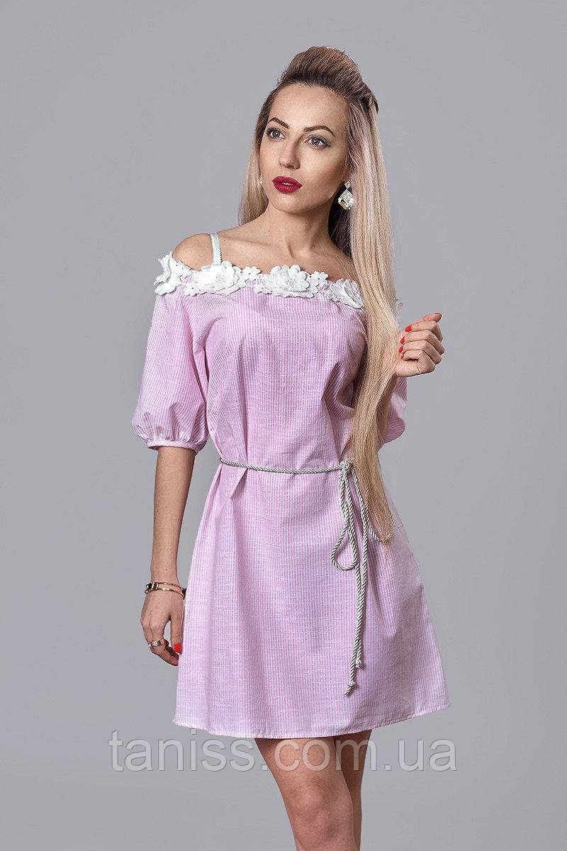 Молодежное летнее легкое льняное платье, отделка 3Д кружево, поясок в комплекте, р.44,46,48 розовый (514)
