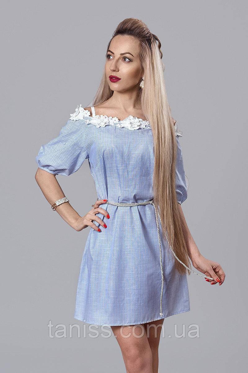 Молодежное летнее легкое платье, льон ,отделка 3Д кружево, поясок в комплекте, р.44,46,48 голубой (514)