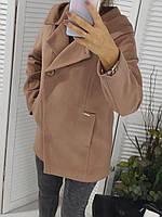 Пальто женское с капюшоном свободного кроя бежевое размер 46-48, фото 1