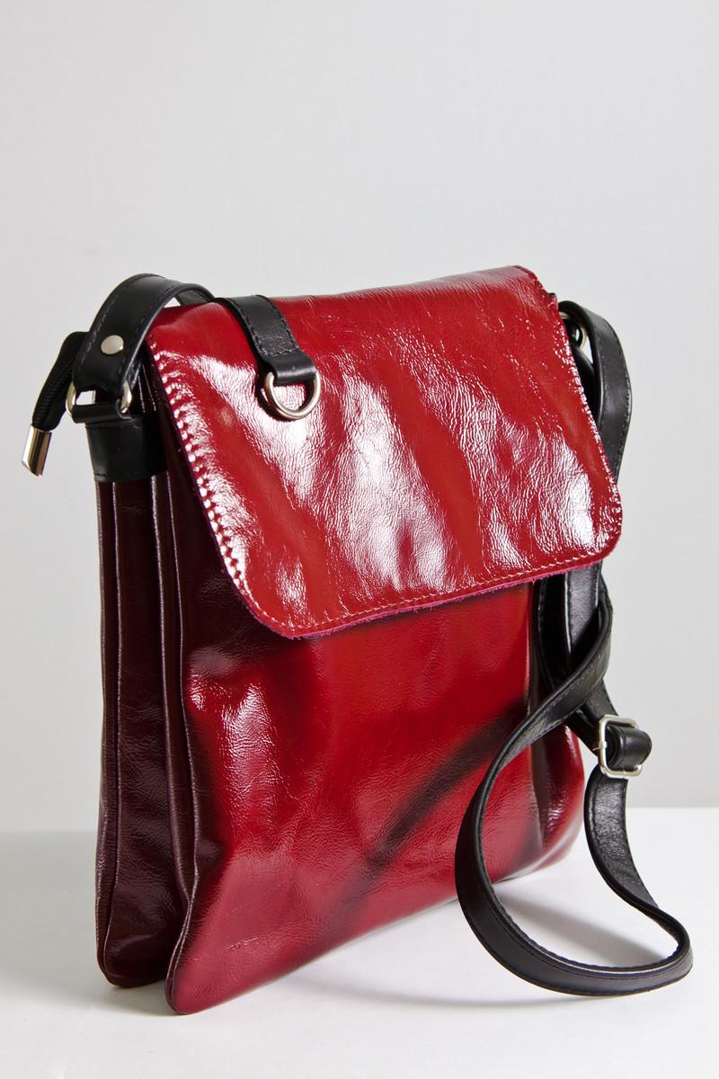 Женская сумка-планшет из натуральной кожи 08 бордовый наплак 01080307