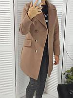 Пальто классическое весна-осень бежевое размер 42-44, фото 1