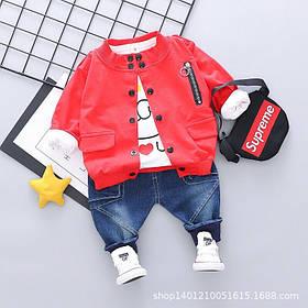 Стильный   костюм тройка на мальчика весна-осень 4 года  красно-синий