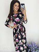 Платье миди с цветочным принтом под поясок, 00121 (Черный), Размер 42 (S)