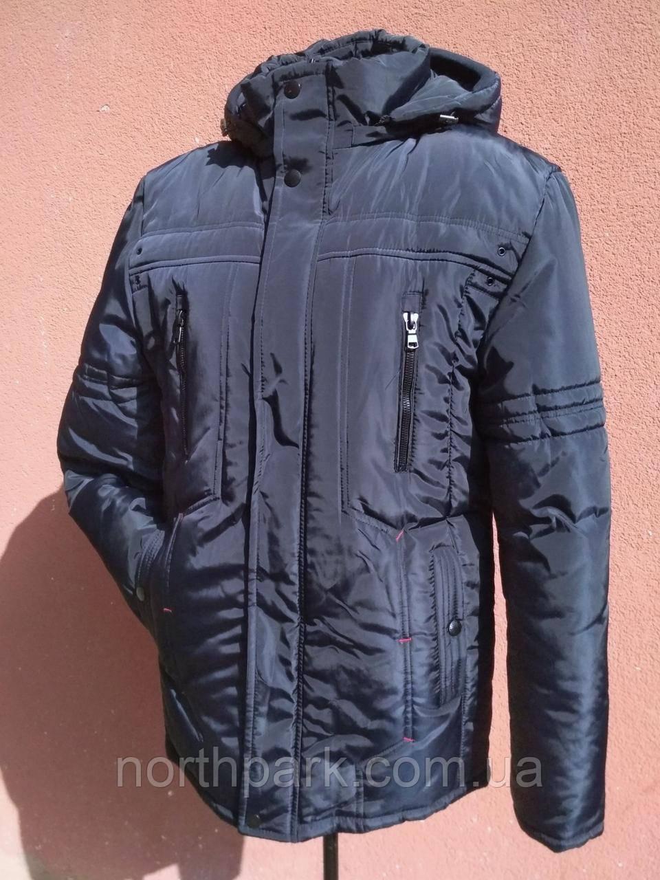 Мужская зимняя куртка с фигурной строчкой, темно-синяя, розмір 58