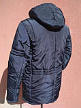 Мужская зимняя куртка с фигурной строчкой, темно-синяя, розмір 58, фото 3